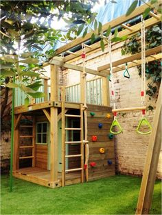 Backyard diy playground jungle gym ideas Source by Backyard Swing Sets, Backyard Playset, Backyard For Kids, Backyard Patio, Outdoor Playset, Outdoor Playhouses, Backyard Playhouse, Backyard Landscaping, Kids Yard