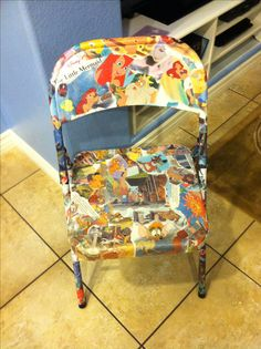 Daily5 chair:) I used a folding metal chair, modge podge and three of my kids old Disney books:) this project cost about $12.00!