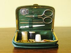 Vintage green faux leather sewing case kit travel purse gold tone clasp souvenir Brussels Belgium 1950s Belgian souvenir collectible by TheIrishBarn on Etsy