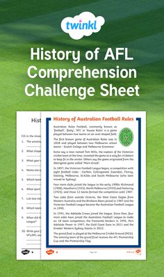 A brief description of Australian Rules Football to help students understand the game better. Students will have questions to answer about AFL. Differentiated to cater for the whole class. This Or That Questions, Australian Football League, Football Rules, National Games, Comprehension, Fun Games, Students, Challenges