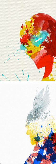 Paint Splattered Super Heroes by Arian Noveir | Inspiration Grid | Design Inspiration