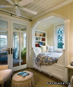 Gorgeous bed nook, this would be so nice at a coast house, but in winter.