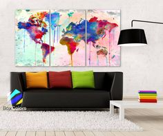 "LARGE 30""x60"" 3Panels Art Canvas Print Map world Watercolor Abstract (1.5"" depth)"