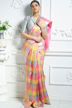 Multicolor Zari Woven Pure Kanchipuram Silk Modern Indian Saree CLICK VISIT link for more Indian Saree Click visit link above to see Saree Blouse Neck Designs, Saree Blouse Patterns, Bridal Blouse Designs, Blouse For Silk Saree, Mehndi, Henna, Saree Wearing Styles, Saree Styles, Checks Saree