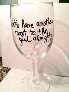 One Direction Girl Almighty wine glass by AngelasBoybandShop