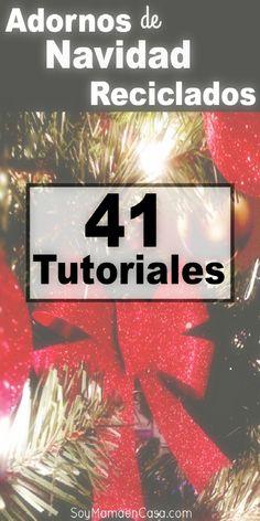 Cómo hacer lindos adornos de Navidad reciclados con estos 41video tutoriales. Manualidades de reciclaje Christmas Diy, Christmas Decorations, Holiday, Montessori Activities, Xmas Ornaments, Ideas Para, Party Time, Recycling, Crafts