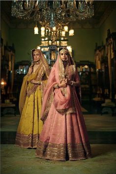 Sabyasachi just launched his 2020 new bridal collection. Sabyasachi Sultana Wedding Lehengas come in gorgeous new shades and you've got to see the dupatta! Indian Bridal Outfits, Indian Fashion Dresses, Dress Indian Style, Indian Designer Outfits, Bridal Dresses, Indian Designers, Indian Wear, Fashion Blouses, Eid Dresses