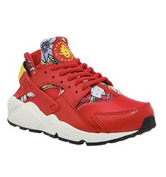 Nike Air Huarache Red Aloha Print W - Unisex Sports Red Trainers, Leather Trainers, Leather Sneakers, Nike Trainers, Red Sneakers, Sneakers Fashion, Sneakers Nike, Sports Footwear, Nike Footwear