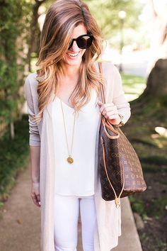 white jeans, white tank, long cream cardigan, julie vos gold pendant, lv neverfull tote 15
