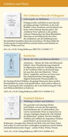 Katalog 2015 vom Verlag Heilbronn -  Seite 16 - Gelehrte und Weise: Die Goldenen Verse des Pythagoras, Konfuzius, Friedrich Rückert.   www.verlag-heilbronn.de