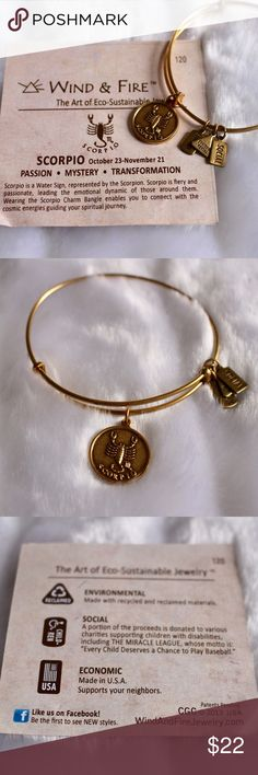 🆕Wind & Fire Scorpio Bracelet 🔹Wind & Fire Scorpio copper tone bracelet bangle. 🔹Very similar to Alex & Ani style bracelets. 🔹Wind & Fire are an eco-sustainable jewelry brand. 🔹NWT, comes with card explaining the bracelet. 🔹One size fits all. 🔹Open to reasonable offers or bundle for instant discounts! Wind & Fire Jewelry Bracelets