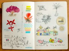 I like collected bits & pieces taped to the pages #journal #sketchbook #sketch