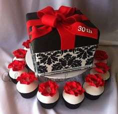 Black, White, & Red Gift Box Cake & Cupcakes
