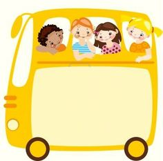 School Bus w/ Children Borders For Paper, Borders And Frames, School Frame, Kids Background, Background Powerpoint, Magic School Bus, Writing Paper, Portfolio, School Teacher