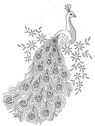 Peacock sketch, could be used as a wood burning pattern?