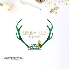 Antlers Logo. Boho Logo Design. Premade Template. by easylogo