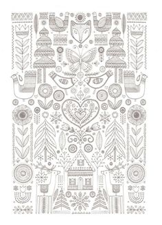 Scandinavian Coloring Book Pg 21 Birds Coloring Pages Coloring Book Pages, Printable Coloring Pages, Folk Embroidery, Embroidery Patterns, Zentangle, Scandinavian Folk Art, Scandinavian Pattern, Mandala Coloring, Colorful Drawings