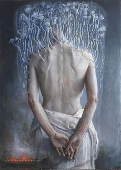 Agostino Arrivabene is an Italian artist, creating incredible surreal impossibilities with an old master's skills, set in the deep category of Wunderkammern. Italian Painters, Italian Artist, Surrealism Painting, Old Master, Master Art, Magritte, Figure Painting, Blue Painting, Traditional Art