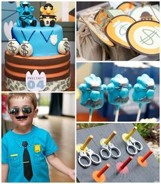 Policeman themed birthday party with Lots of Really Cute Ideas via Kara's Party Ideas! Full of decorating tips, cakes, cupcakes, decor, favo...