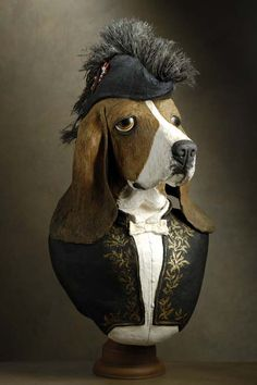 Paper mache anthropomorphic  We had two bassets and I can just see that look that means 'I may be a dog but I have my pride'. GET THIS OFF OF ME!!!!