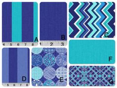 Crib bedding in Blue and Aqua-Choose from many different ordering options listed in description
