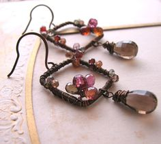 Autumn sapphire gemstone wire wrapped earrings by Shadow Jewels $42 #jewelry #gift #brigteam @Shadow