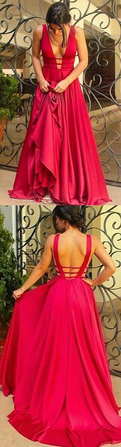 Long Prom Dresses, Satin Prom Dresses, A-Line Party Dresses, V-Neck Evening Dresses, Sleeveless Prom Dresses , Backless Prom Dresses, Sexy Prom Dress, LB0470