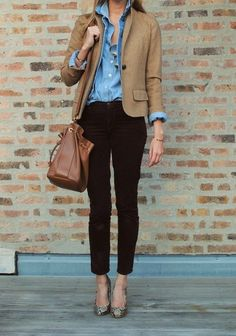 Why is this outfit amazing? Because you have most of this in your closet and you can see yourself wearing it.     Deconstructed:   Semi-fitted denim shirt from your spring wardrobe  Cropped Khaki tweed   Brown or maroon crop pant  Python pump  Neutral Satchel