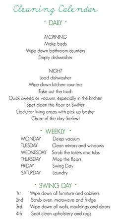 Cleaning schedule- this would be great for a college apartment too