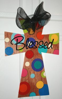 Painted wooden Cross Door Hanger with ribbon and Blessed dots design.