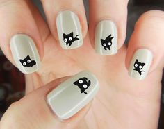 Black Cat Water Slide WaterSlide Nail Decal Paper Handmade Rub On Nail Sticker… Cute Nail Art Designs, Cat Nail Designs, Cat Nail Art, Animal Nail Art, Wow Nails, Cute Nails, Stylish Nails, Trendy Nails, Nail Art For Beginners