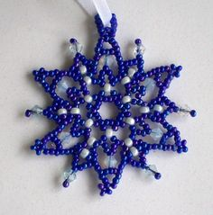 FROZEN Christmas or Hanukkah Ornament in Cobalt Blue Beaded Snowflake with Swarovski Crystals