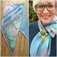 Redesign: small silk scarves sewn together to make s long and lovely scarf. Blog: kristins røde tråd