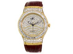 Adee Kaye Beverly Hills, Ladies White Crystal Gold Tone Red Genuine Le
