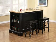 Utilizing Small Space by Movable Kitchen Islands : Movable Kitchen Islands With Bench Black