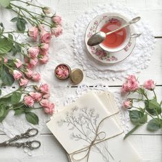 Pink roses and cup of tea by RooM_the_Agency - Photo 165445693 / 500px