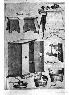 16th C Kitchen equipment: Italy; from Opera di M. Bartolomeo Scappi: cuoco secreto de Papa Pio V (1570)