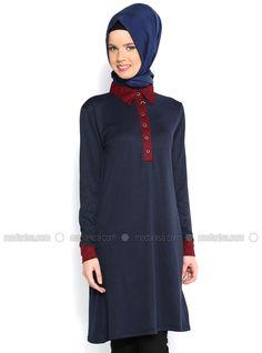 f236ddbf558 Button Dual Color Tunic - Navy Blue - Tunics - Modanisa Islamic Fashion,  Tunics,