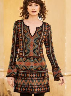 be104aed5a62f Our boho tunic-dress is patterned in geometrics from an old Berber rug.  Jacquard