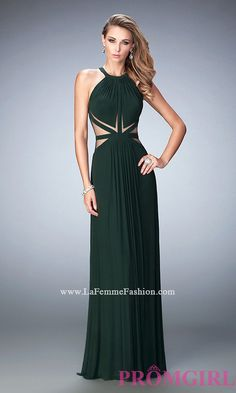 Long Sheer Back La Femme High Neck Prom Dress Style: LF-22286