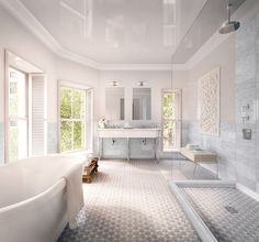 A look at the airy master bath, which has a freestanding tub, inside a seven-story brownstone on one of Brooklyn's most enviable and star-studded streets. | archdigest.com