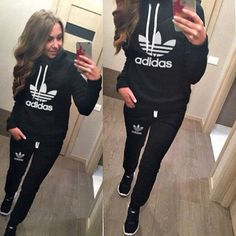 2018 New Arrival Women Tracksuit Hoodies Sweatshirt+Pant Running Sport Track suit 2 Piece jogging sets survetement femme clothing Nike Outfits, Adidas Outfit, Sporty Outfits, Hoodie Sweatshirts, Jogging, Swagg, Sportswear, Pullover, Sweater Hoodie