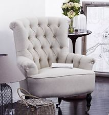 Linen wingback armchair - French Provincial Hamptons Style