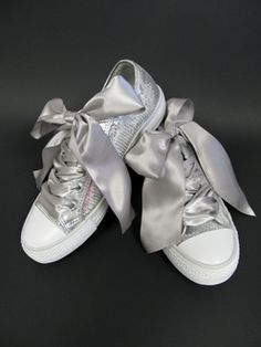 Custom Silver Sequin Wedding Tennies with Ribbon Laces - Bridal Sneakers - Comfortable Wedding Shoes - Wedding Sneakers