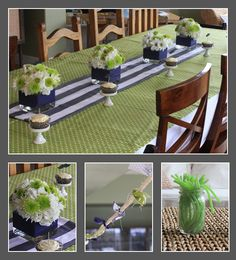 Preppy blue and green baby shower - like the stripped runner and flower arrangements