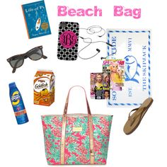 Beach Bag Essentials by thevirginiaprep on Polyvore featuring Rainbow, Lilly Pulitzer, J.Crew, Coppertone, Southern Tide, AIAIAI, Nook and HTC
