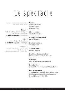 Création du Dossier de presse, d'un Melqiot, création conjointe Beziers-Dijon, extrait d'une mise en page intérieure