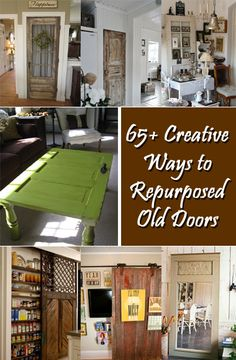 Creative Ways to Repurpose Old Doors Using just doors and nothing else you are getting tons of creativity. Start from tomorrow and make some amazing projects! Refurbished Furniture, Repurposed Furniture, Furniture Makeover, Diy Furniture, Salvaged Doors, Old Doors, Repurposed Doors, Wooden Doors, Barn Doors