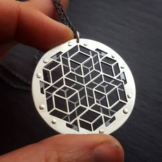 """437 Likes, 17 Comments - JeanBurgersJewellery (@jeanburgersjewellery) on Instagram: """"Geometric Pendant heading off over the ocean. Handcut sterling silver and oxidised sterling silver.…"""""""