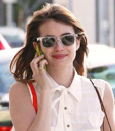 Emma Roberts Wearing: Lookmatic Uncleonard Sunglasses in Clear Celebrities With Glasses, Famous Celebrities, Celebs, Celebrity Sunglasses, Trending Sunglasses, Fashion Tag, Only Fashion, Discount Sunglasses, Sunglasses Women